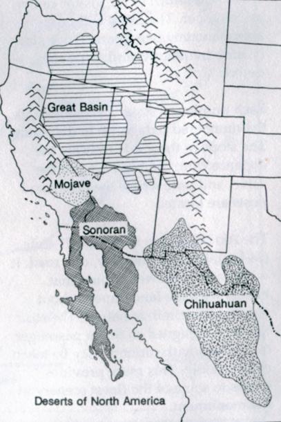 La localizzazione dei maggiori deserti che ho visitato nel Nordamerica